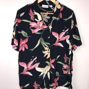 Black Floral Short Sleeve Alfred Dunner Top 16